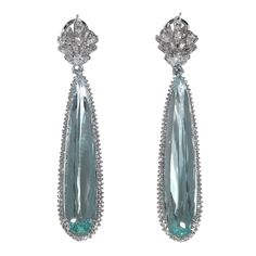Pair of Aquamarine Diamond Gold Chandelier Dangle Earrings | From a unique collection of vintage dangle earrings at https://www.1stdibs.com/jewelry/earrings/dangle-earrings/