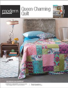 Modern Patchwork - Free Quilt Pattern: Queen Charming by Tula Pink & FreeSpirit Fabrics - Media - Quilting Daily