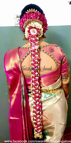 Traditional Southern Indian bride's bridal braid hair. Hairstyle by Swank Studio. Silk Saree. Sari Blouse Design. Hair Accessory. Temple jewelry. Jhumkis. Silk kanchipuram sari. Braid with fresh flowers. Tamil bride. Telugu bride. Kannada bride. Hindu bride. Malayalee bride. Find us at https://www.facebook.com/SwankStudioBangalore Bridal Braids, Bridal Hairdo, Indian Wedding Hairstyles, Bride Hairstyles, Indie, Bridal Blouse Designs, Floral Hair, Saree Wedding, Blouse Patterns