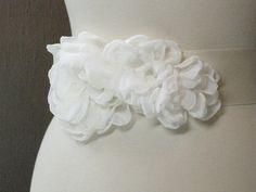 Floral Bridal Sashes, Ivory Chiffon Sash, Bridal Belts, Bridesmaid Sashes,Floral wedding Accessories,Wedding Sashes,Peony Sash,Wedding Belts...