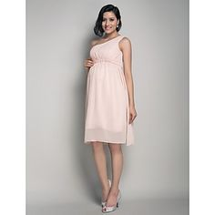 A-line One Shoulder Knee-length Chiffon Maternity Bridesmaid Dress - USD $ 89.69