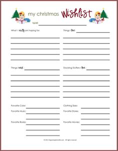 Printable Christmas Gift Wish List for Girls