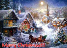 merry-christmas sleighride through snow town