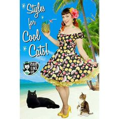 Get this cool postcard from @catslikeus  with this lovely lady wearing Glitter Paradise's Flamingo Necklace  We include a postcard with every purchase. Did you know you can actually mail them?! Look for our new design featuring the @hellbunnyofficial Tutti Frutti Dress and my cats Vicktor Frankenstein & Ginger Rogers. #catslikeus #island #pineapple #tropical #tiki #cats #blackcat #tabbycat @luxulite @glitterparadise @lepetitcouturier @malcomodes