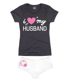Look at this Heather Charcoal 'I Heart My Husband' Tee & White Hipster on #zulily today!