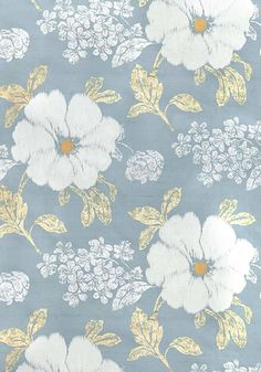 Rue de Siene embroidery printed fabric in Blue