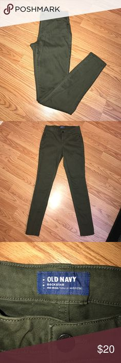 Rockstar Mid Rise Skinny Jean Rockstar Mid Rise skinny jean in an olive color. The texture on the exterior is super soft and does not feel like regular blue jeans. Worn couple times, still in good condition. :) Size: 2R Old Navy Jeans Skinny