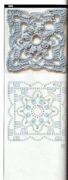 crochet square lace motif with diagram Grannies Crochet, Crochet Motifs, Crochet Blocks, Crochet Diagram, Crochet Chart, Crochet Squares, Crochet Stitches, Granny Squares, Crochet Home