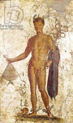 Mercury, from Pompeii, c.50-79 AD (fresco). Roman, (1st century AD) / Museo Archeologico Nazionale, Naples, Italy