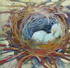 "Daily+Paintworks+-+""Bird+Nest+Painting+Demo""+-+Original+Fine+Art+for+Sale+-+©+Karen+Margulis"