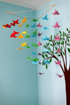 cheap & cheerful origami paper crane mobile