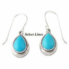 Turquoise Tear Drop Dangle Earrings Sterling Silver Native American Jewelry $18