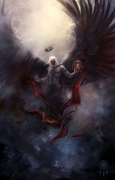 Light And Dark Art Fantasy Deviantart Ideas Dark Fantasy Art, Fantasy Artwork, Dark Artwork, Dark Angels, Angels And Demons, Fallen Angels, Fantasy Wesen, Arte Obscura, Angel Warrior