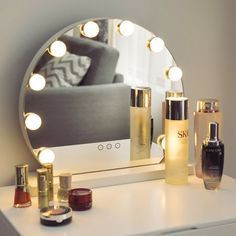 Hollywood Style Makeup Vanity Mirror with 10 LED Light Stage Beauty Mirror Light Up Vanity, Makeup Vanity Mirror With Lights, Makeup Vanity Set, Lighted Vanity Mirror, Vanity Set With Mirror, White Mirror, Mirror 3, Makeup Vanity Organization, Mirror Bathroom