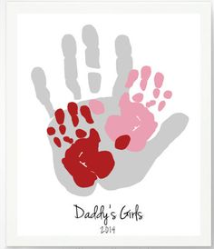 DIY Valentine's Day Gifts for Mom, Dad, Grandma, & Grandpa: Daddy's Girls Personalized Handprint Artwork Print by Pitter Patter Print @ Etsy