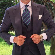 😎👌👔 Mr Danielre wearing the OTAA Navy Blue & Green Stripe Necktie with our Green Edge Pocket Square ⚓️ @danielre #lookingsharpmate | OTA