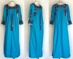 70s Oaxacan Dress Vintage Mexican Turquoise by DeannesVintage