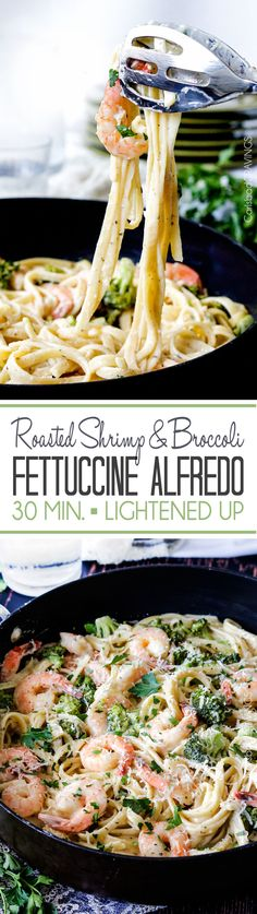 LIGHTENED up 30 Minute Roasted Shrimp and Broccoli in a velvety, creamy Garlic Parmesan Mozzarella Alfredo Sauce without the guilt and a fraction of the price of a restaurant. #alfredo #shrimp #fettuccine #broccoli #fettuccinealfredo