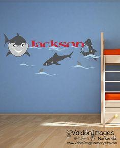 Shark bite. Shark name nursery decor nursery wall decal nautical baby