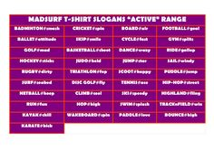 The Madsurf T-shirt range – MADSURF Badminton Smash, Slogan Tshirt, T Shirt, Puddle Jumping, Basketball Shooting, Netball, Disc Golf