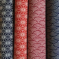 Traditional Asanoha and Seighaia Patter Fabrics available at www.karlottapink.com (Online fabrics shop)
