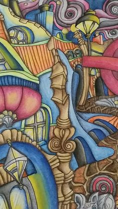 """Close up of The Magical City Adult coloring book. """"Soho"""" page.  Inktense pencils activated with water. Colored by Dayna Brown. 5-2016"""