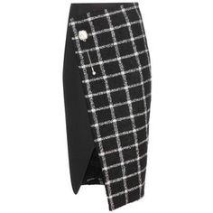 Balenciaga Check Wool Blend Wrap Skirt