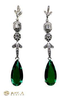 18k white gold with diamonds & beautiful Emerald by braxjewelers, $2350.00