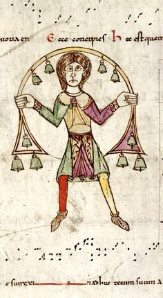Unusual Musical Instruments - Detail of a man with bells among musical neumes, from the Gradual of Saint-Etienne of Toulouse, France (Toulouse), last quarter of the quarter of the century, Harley MS f. The British Library. Renaissance Music, Medieval Music, Medieval Books, Medieval World, Medieval Manuscript, Medieval Art, Illuminated Manuscript, Medieval Drawings, Medieval Games