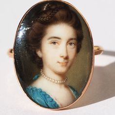 This portrait is of Philadelphia Austen [1730 -1792], elder sister of the Reverend George Austen and aunt of Jane Austen.  A rare portrait miniature ring by the leading 18th century miniature painter, John Smart [circa 1741 -1811]. RowanandRowan.com