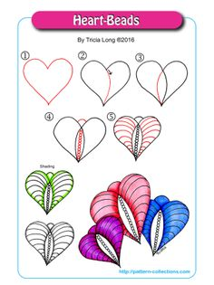 Heart-Beads Tangle, Zentangle Pattern by Tricia Long Zentangle Drawings, Doodles Zentangles, Doodle Drawings, Doodle Art, Easy Drawings, Zen Doodle Patterns, Mandala Pattern, Zentangle Patterns, Doodle Borders