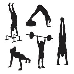 Set #3 of workout and cross fit icons featuring push-ups, hand stand push-ups, press, and hand stand.