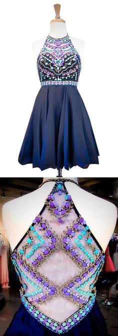 Cute Navy Blue Homecoming Dresses, Short Prom Dresses,Homecoming