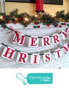 Christmas decorations / MERRY CHRISTMAS banner / Holiday Mantle Garland / Holiday Photo Banner / Vintage Inspired Holiday Banner /Christmas Banner from Anyoccasionbanners http://www.amazon.com/dp/B01BA1BZLK/ref=hnd_sw_r_pi_dp_Gn5Zwb1K0MYVN #handmadeatamazon