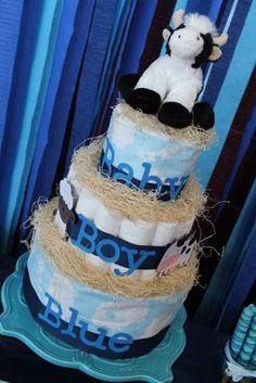 Diaper cake at a blue baby shower party! See more party planning ideas at CatchMyParty.com!