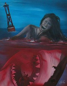 Another huge influence on my life that I'm struggling to transfer to flesh is JAWS. Trying to use Chrissy Watkins was my first idea, but I'm not sure if having my wife naked or eviscerated on my body is a great tribute. Megalodon, Arte Horror, Horror Art, Scary Movies, Old Movies, Cthulhu, Scary Ocean, Le Kraken, Jaws Movie