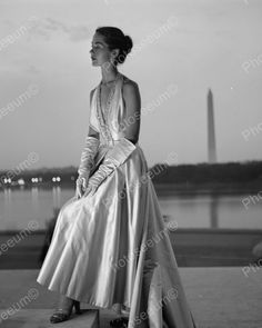 Fashion Model In Gown Poses By Water Vintage1960s Reprint 8x10 Old Photo