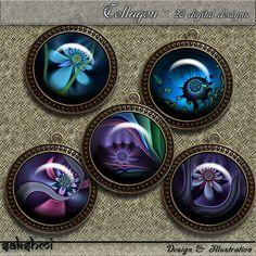 Fraktale Blumen – Digital Design - Set 3 - 20 Buttons zum Ausdrucken. 300 DPI
