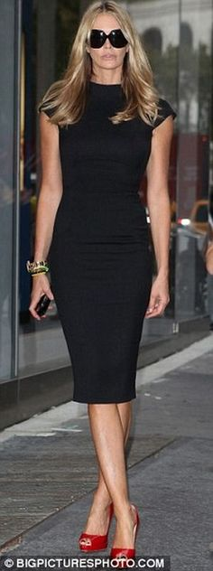 Elle Macpherson Black dress and red shoes