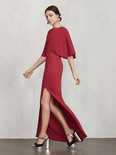 The holiday party season is descending, and you probably need something to wear to all those cocktail get-togethers, dinners, office parties and your boyfriend's architect brother's house party thing. Luckily the Escala Dress is here to assist you. This is a ghost crepe maxi dress with batwing sleeves and a side slit. The back is open with a top strap and hook/zip closure. Made from 57% viscose, 43% rayon.