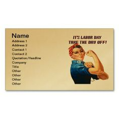 Take the Day Off Business Card printed on a gold colored background.  Other colors available.
