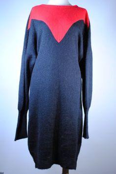 Vintage-Womens-LAURA-BIAGIOTTI-Mohair-Angora-2-Tone-80-039-s-Sweater-Dress-ONE-SIZE