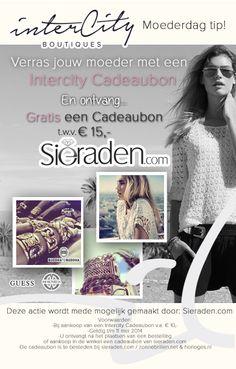 Moederdag TIP! Besteld een Intercity Cadeaubon & ontvang gratis een Cadeaubon van Sieraden.com