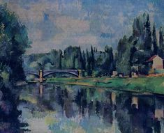 Learn more about Bridge Over The Marne Paul Cezanne - oil artwork, painted by one of the most celebrated masters in the history of art. Cezanne Art, Paul Cezanne Paintings, Impressionist Paintings, Landscape Paintings, Landscapes, Tree Paintings, Landscape Art, Paul Gauguin, Texture Painting