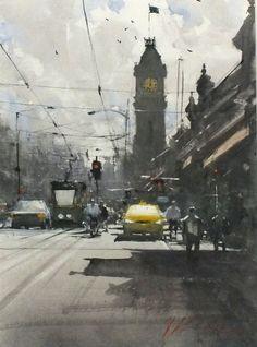 Joseph ZBUKVIC (b.1952), Watercolour, Waiting at the lights - Melbourne (Australia)