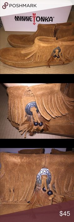 NIP Minnetonka feather boot Really cute booties with fringe & feathers Minnetonka Shoes Ankle Boots & Booties