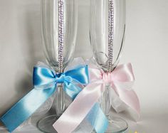 Personalized Wedding champagne glasses in by ArtsLux on Etsy