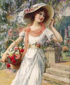 Emile Vernon (french, 1872-1919) _The Flower Girl