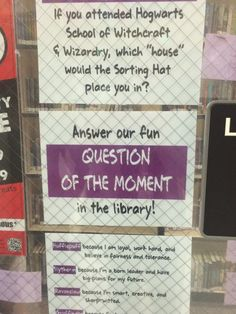 """""""Question of the Moment"""" Window Display/Activity - Students answer the question on sticky notes on the window - Bennion Jr. High"""