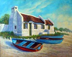 Thumbnail.asp (450×354) Landscape Art, Landscape Paintings, Watercolor Paintings, Landscapes, Canvas Painting Projects, Art Projects, Fishermans Cottage, South African Artists, Cottage Art